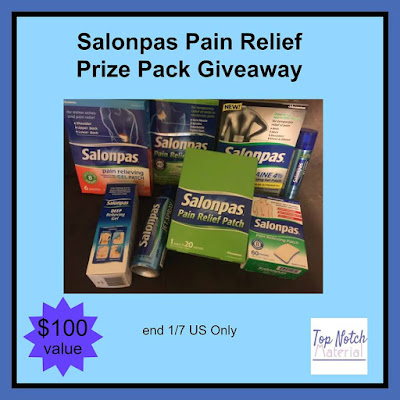 Enter the Salonpas Pain Relief Prize Pack Giveaway. Ends 1/7