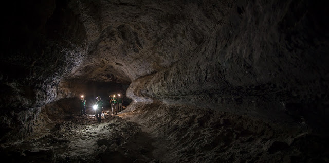 ESA astronauts training in terrestrial lava tubes in Lanzarote during the PANGEA 2016 course. Photo Credit: ESA/L. Ricci