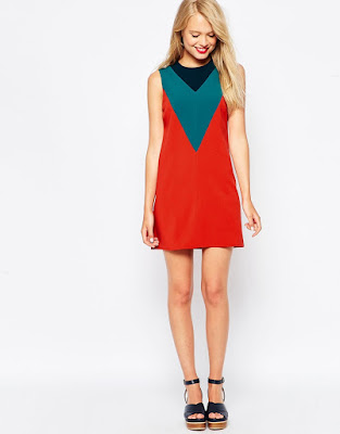 ASOS Shift Dress in Colourblock with V-Detail