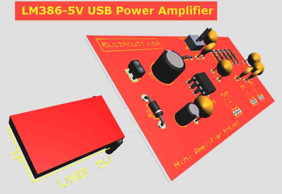 USB Powered Audio Amplifier LM386 + Tone Control