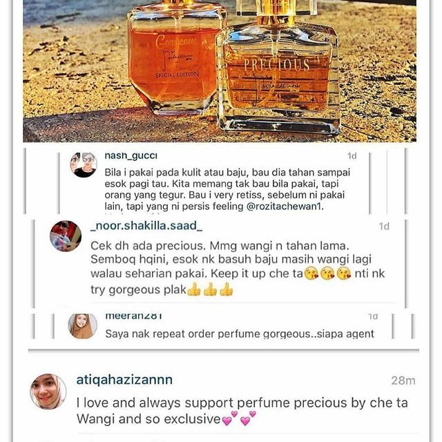 testimoni  Gorgeous & Precious Perfume By Rozita Che Wan