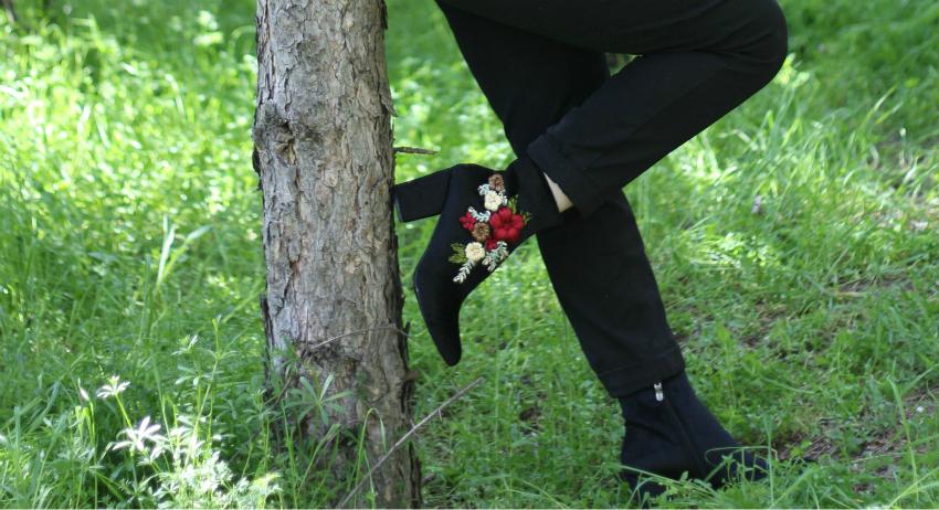 Çiçek Nakışlı Botlar-alışveriş-Amiclubwear