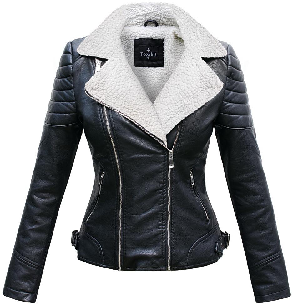 ad37cc7404ba8 Mięciutka kurtka damska ramoneska jesienna ze skóry podszyta barankiem z  duzym kołnierzem zapinana na zamek model #103 w sklepie fashionavenue.pl
