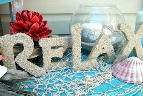 decorative beach sand letter idea