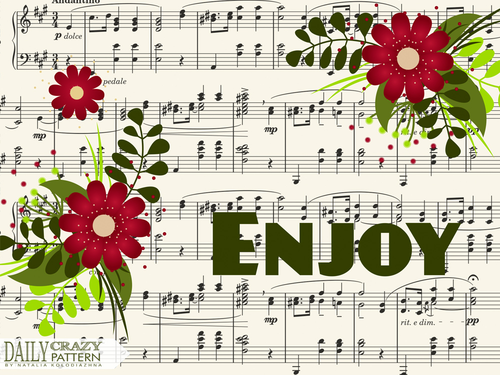"Musical notation pattern with nice flowers for ""Daily Crazy Pattern"" project"