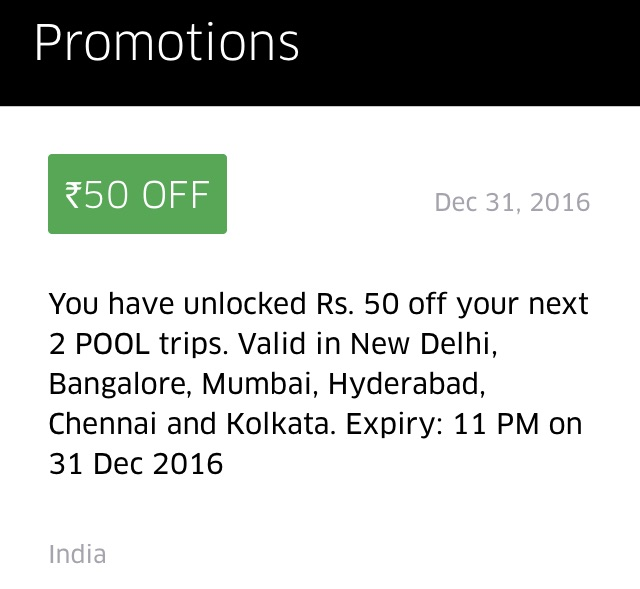 Rs 50 Discount 2 UberPOOL rides for existing users