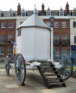 A replica of George III's bathing machine    Weymouth seafront