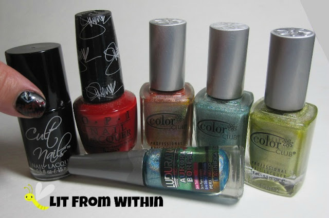 Bottle shot:  Cult Nails Fetish, OPI Over and Over A-Gwen, Color Club Cosmic Fate, Angel Kiss, and Kismet, and Ludurana Aurora Boreal Magnifica.