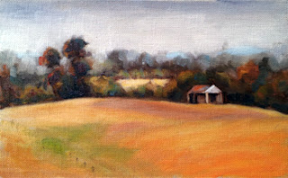 Oil painting of a distant shed in a paddock of dry grass with a number of trees in the background.