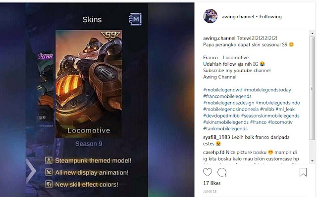 hadian skin season 9 mobile legends franco locomotive