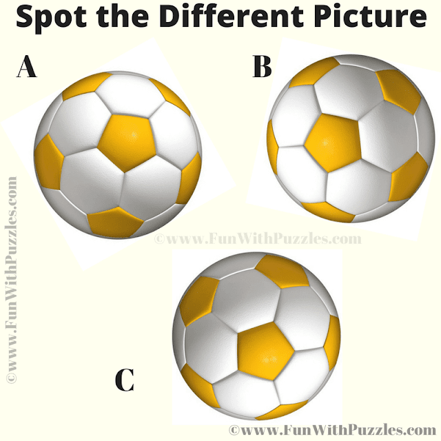 In this Football Picture Puzzle, your challenge is find the Odd Picture Out among the three similar looking footballs.
