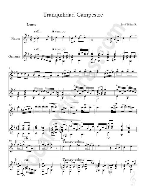 Tranquilidad Campestre Partitura de Dúo Flauta e Instrumentos en Clave de Sol Afinados en Do (Violín, Oboe...) y Guitarra Clásica Sheet Music for Flute (Treble Clef Instruments in C) & Guitar Duet