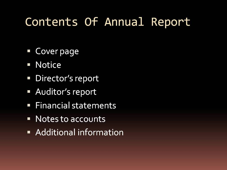 annual reports: March 2012