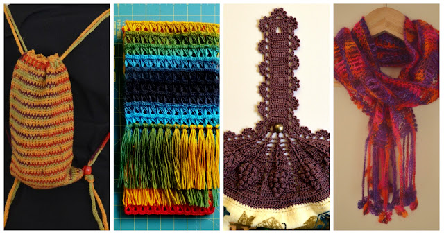 A collage of four separate photographs. The mini backpack is being worn against a black shirt, the broomstick lace scarf is folded showing the green and gold fringe. A green cutting mat is in the background. An excerpt of the tea towel top photo which appears later in the blog entry; and the silk mohair scarf hanging on a coathander as if it were around someone's neck with the floral fringe hanging down.