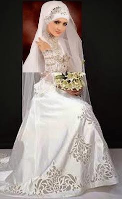 Gaun Pengantin Muslimah Warna Putih Terbaru