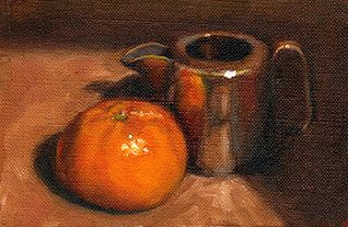 Oil painting of a mandarine beside a small silver-plated jug.