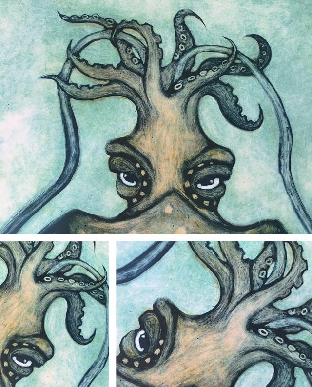 jani lunablau monotype printmaking workshop Drucktechniken Monotipia sepia cuttlefish