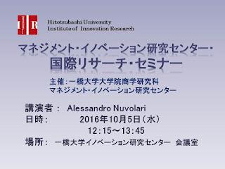 【国際リサーチ セミナー】2016.10.5 Alessandro Nuvolari