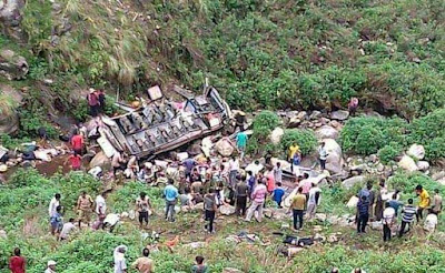 Bus collapses in deep ditch in Uttarakhand: 45 dead injured eight passengers injured