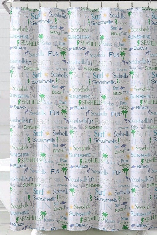 White, blue and green whimsical beach shower curtain with hooks