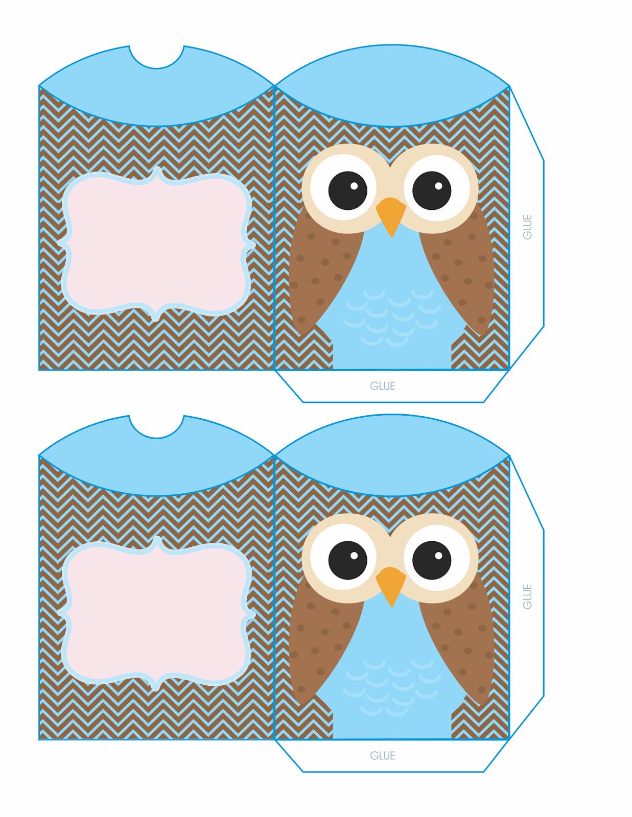 Cajas almohada con b hos para imprimir gratis oh my 15 for Owl pillow box template
