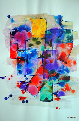 Colors and Lines Abstract painting. Miabo Enyadike
