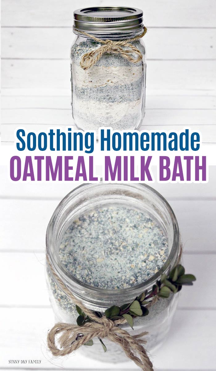 Soothing homemade oatmeal milk bath is perfect for kids, adults, or a great homemade gift idea! Made with essential oils, these homemade bath salts are soothing and smell great. Homemade bath and body with essential oils. #essentialoils #diy #homemade #giftideas #bath