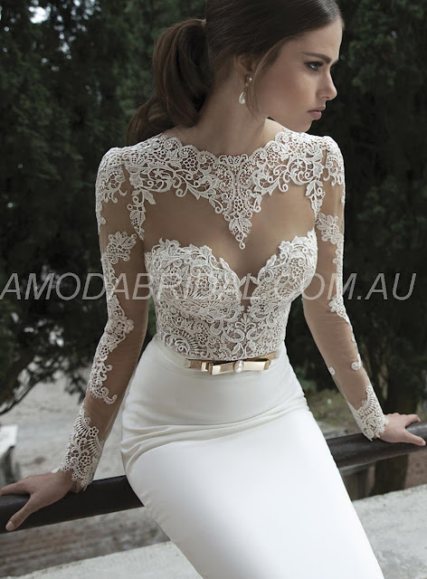 Mermaid/Trumpet Princess Chic Long Sleeves Jewel Lace Wedding Dresses Wollongong
