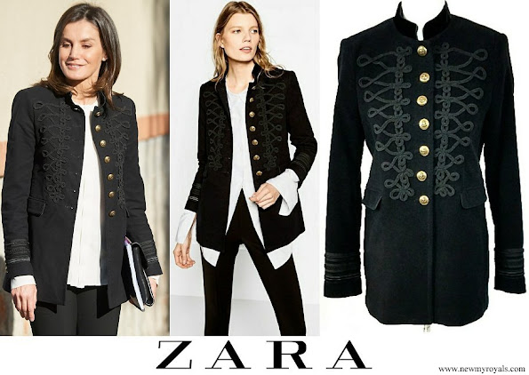 Queen Letizia wore Zara Velvet Military Jacket