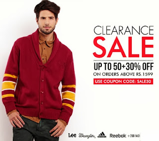 Myntra Clearance Sale on more than 200 Big Brands: Upto 50% + Flat 30% additional Off
