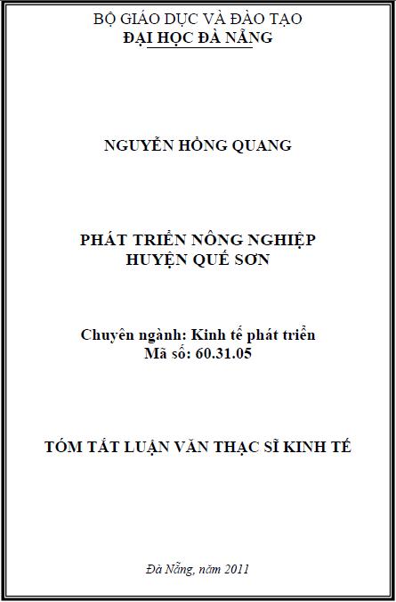 Phát triển nông nghiệp huyện Quế Sơn