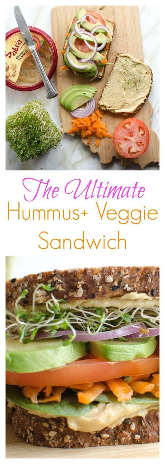 The Ultimate Hummus and Veggie Sandwich #hummus #veggies #veggiesandwich #sandwich #vegetarian #vegetarianrecipes