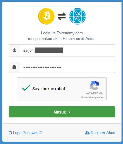 mendaftar menggunakan Akun Bitcoin.co.id