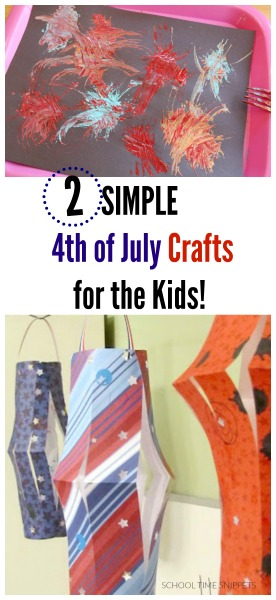 Two simple 4th of july crafts for kids.  Your kiddos will love the festive fireworks craft using forks and paper lanterns!