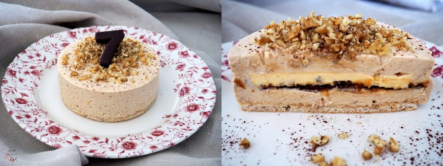 Tarta mousse de membrillo y queso mascarpone, con disco interior de membrillo y crema inglesa y base de dacquoise de nueces.