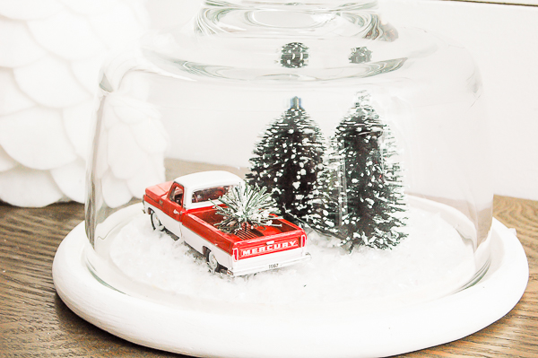 Thrifted cloche turned snow globe, diy snow globe,
