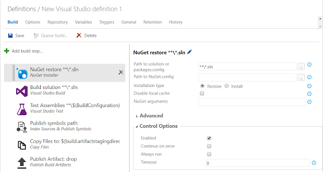 vsts build visual studio default step