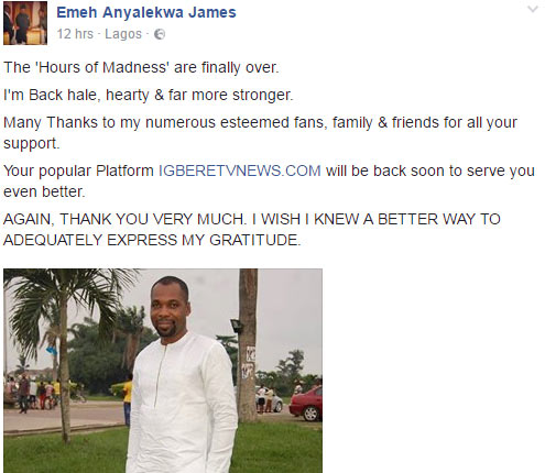 """Arrested Igbere TV blogger James Emeh says his blog will be """"back and better"""""""