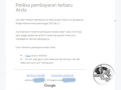 Google AdSense: Periksa pembayaran terbaru Anda.