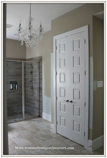 Master Bathroom-Chandelier-Linen Closet-Wood Tile-Shower-From My Front Porch To Yours