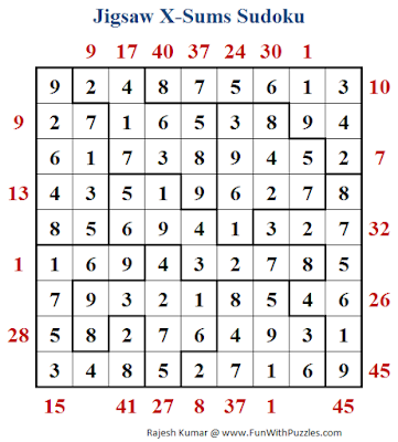 Jigsaw X-Sums Sudoku (Daily Sudoku League #184) Solution