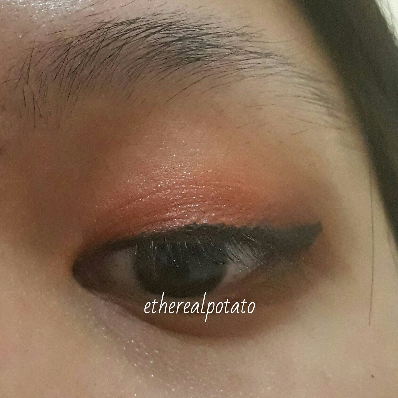 Nah foto diatas ini foto pemakaian Focallure 9 Color Eyeshadow Palette 5 di eyelid aku tanpa menggunakan eyeshadow base sama sekali