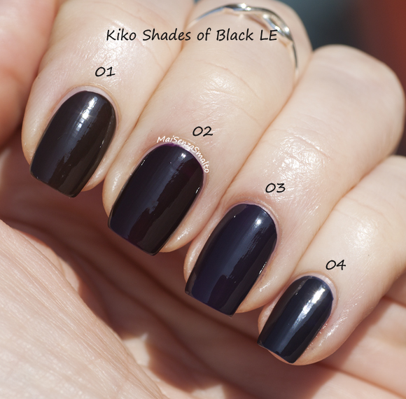 Kiko Shades of Black Nail Lacquer 01-02-03-04