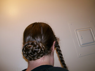 Two-braid bun or chignon.