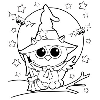 сова в шляпе раскраска. owl in a hat coloring pages
