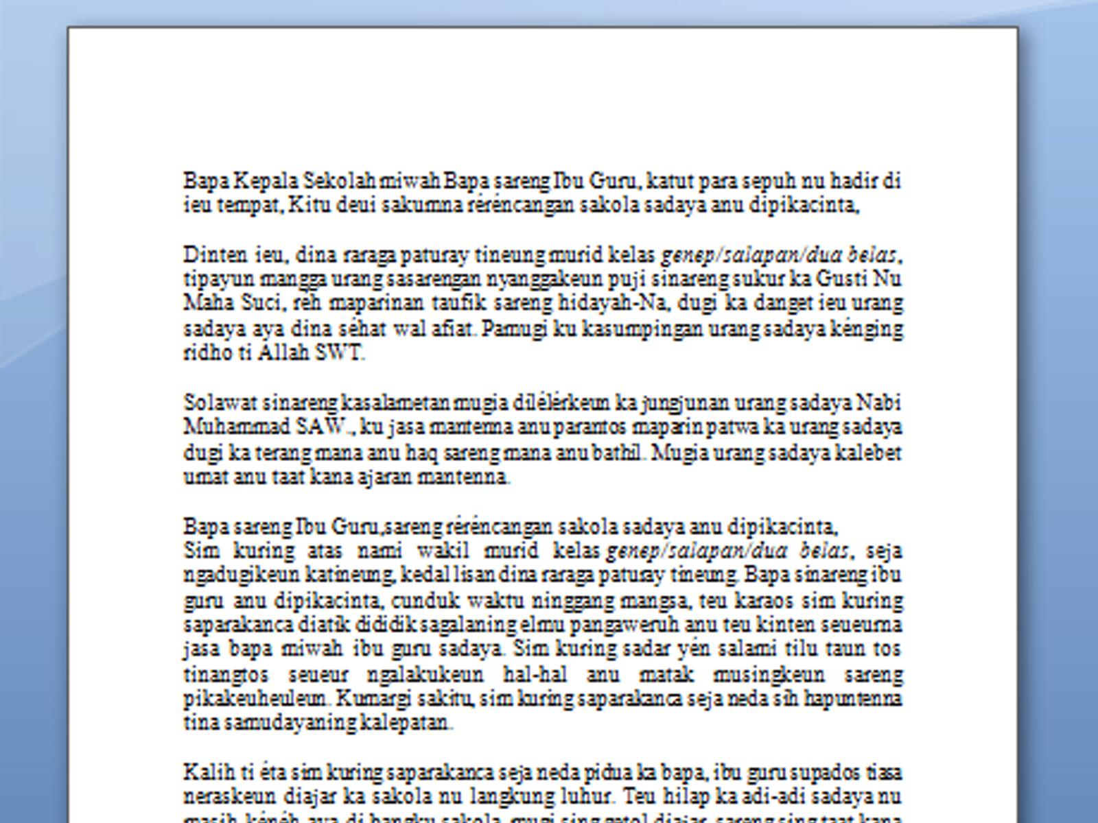 Contoh Naskah Pidato Perpisahan Sekolah dalam Bahasa Sunda