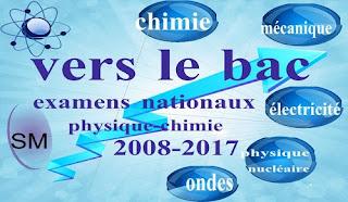 مواضيع الامتحانات الوطنية لمادة الفيزياء والكيمياء - علوم رياضية - خيار فرنسية - من 2008 الى 2017