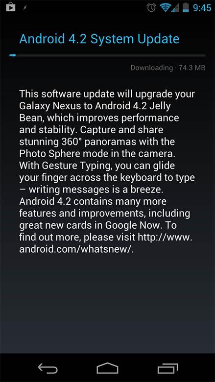 Google Galaxy Nexus receives Android 4.2 Jelly Bean