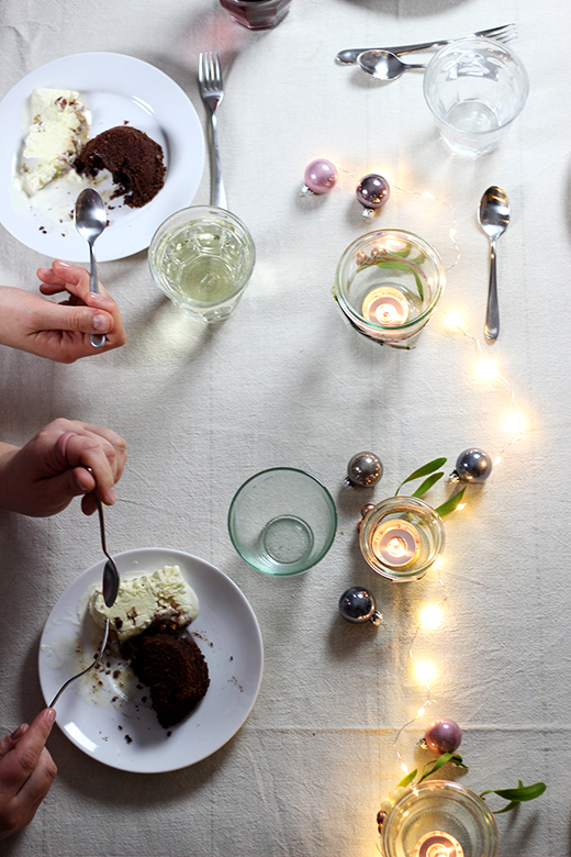 Vegetarisches Weihnachtsmenü, Nachspeise: Maronenküchlein mit Gebrannte-Mandel-Parfait, Rezept, Holunderweg18