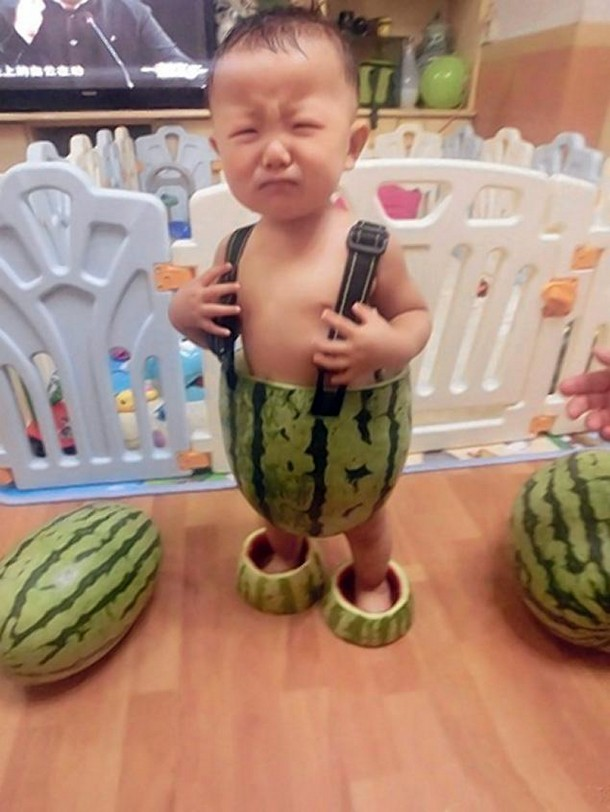 babies wearing watermelons